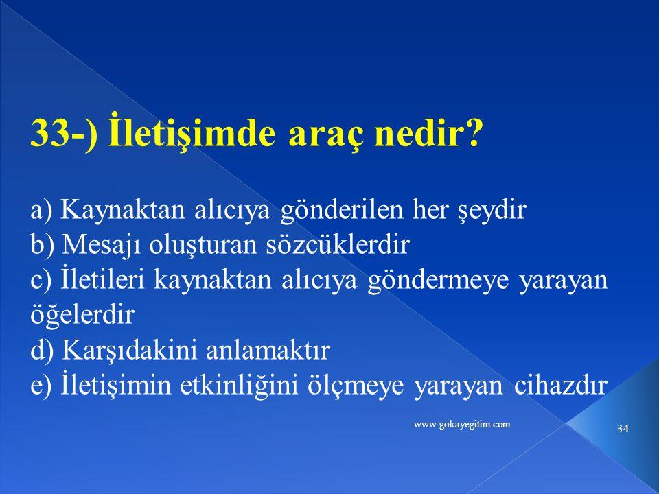 www.gokayegitim.com 34 33-) İletişimde araç nedir.