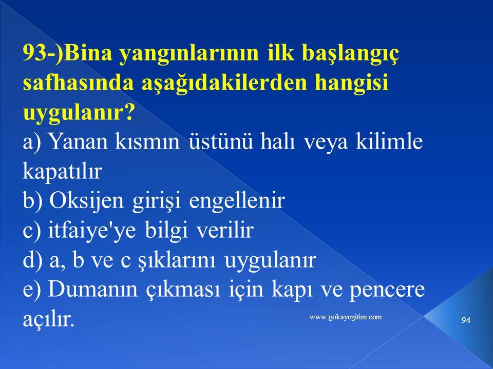 www.gokayegitim.com 94 93-)Bina yangınlarının ilk başlangıç safhasında aşağıdakilerden hangisi uygulanır.