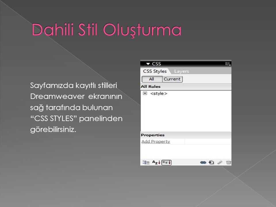 """Sayfamızda kayıtlı stilleri Dreamweaver ekranının sağ tarafında bulunan """"CSS STYLES"""" panelinden görebilirsiniz."""