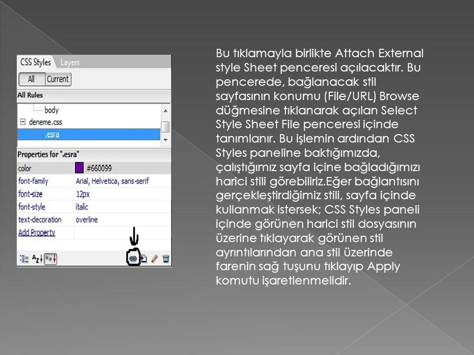 Bu tıklamayla birlikte Attach External style Sheet penceresi açılacaktır. Bu pencerede, bağlanacak stil sayfasının konumu (File/URL) Browse düğmesine