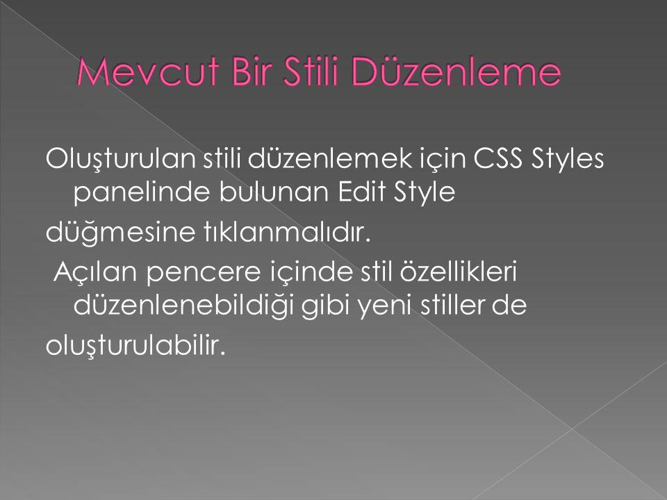 Oluşturulan stili düzenlemek için CSS Styles panelinde bulunan Edit Style düğmesine tıklanmalıdır. Açılan pencere içinde stil özellikleri düzenlenebil