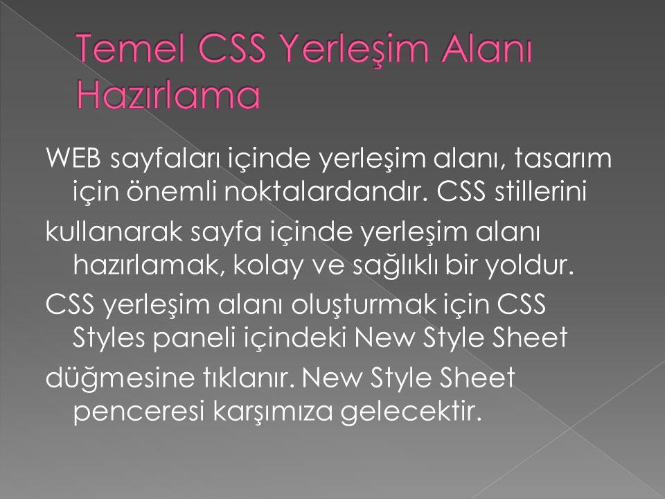 WEB sayfaları içinde yerleşim alanı, tasarım için önemli noktalardandır. CSS stillerini kullanarak sayfa içinde yerleşim alanı hazırlamak, kolay ve sa