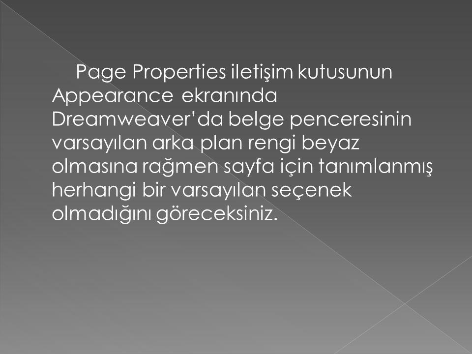 Page Properties iletişim kutusunun Appearance ekranında Dreamweaver'da belge penceresinin varsayılan arka plan rengi beyaz olmasına rağmen sayfa için