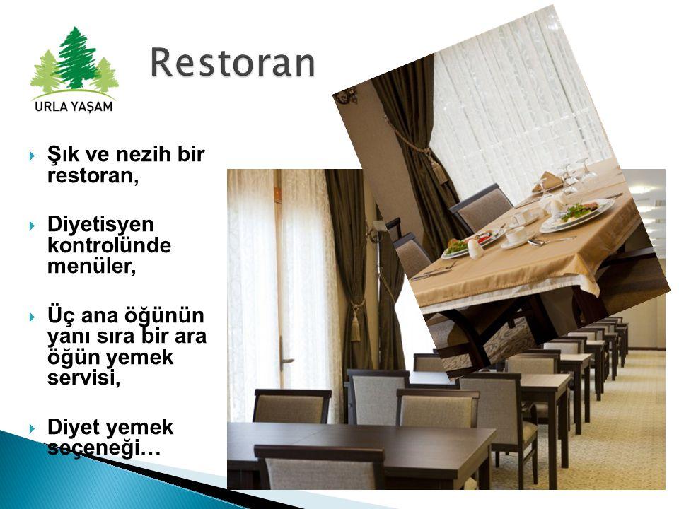  Şık ve nezih bir restoran,  Diyetisyen kontrolünde menüler,  Üç ana öğünün yanı sıra bir ara öğün yemek servisi,  Diyet yemek seçeneği…