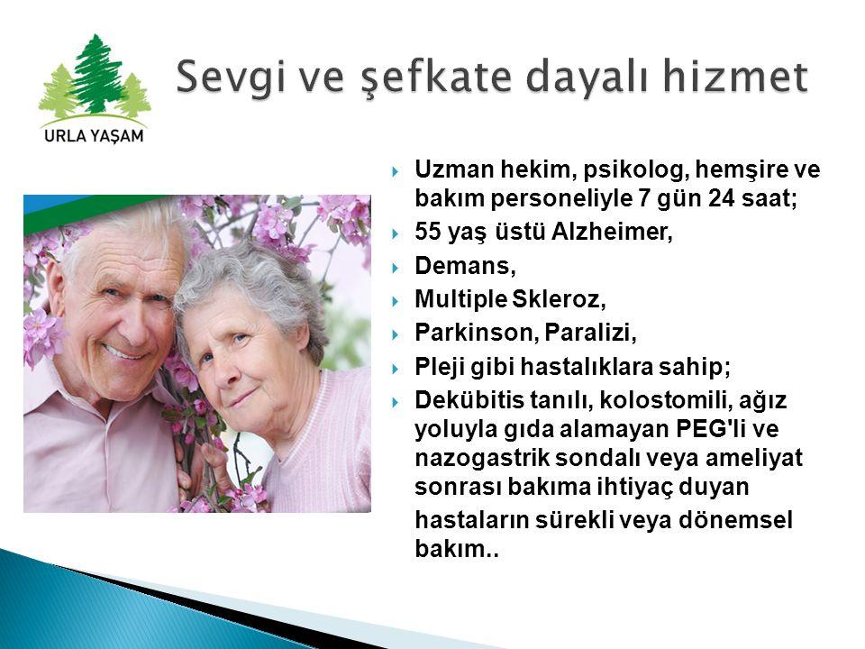  Uzman hekim, psikolog, hemşire ve bakım personeliyle 7 gün 24 saat;  55 yaş üstü Alzheimer,  Demans,  Multiple Skleroz,  Parkinson, Paralizi, 