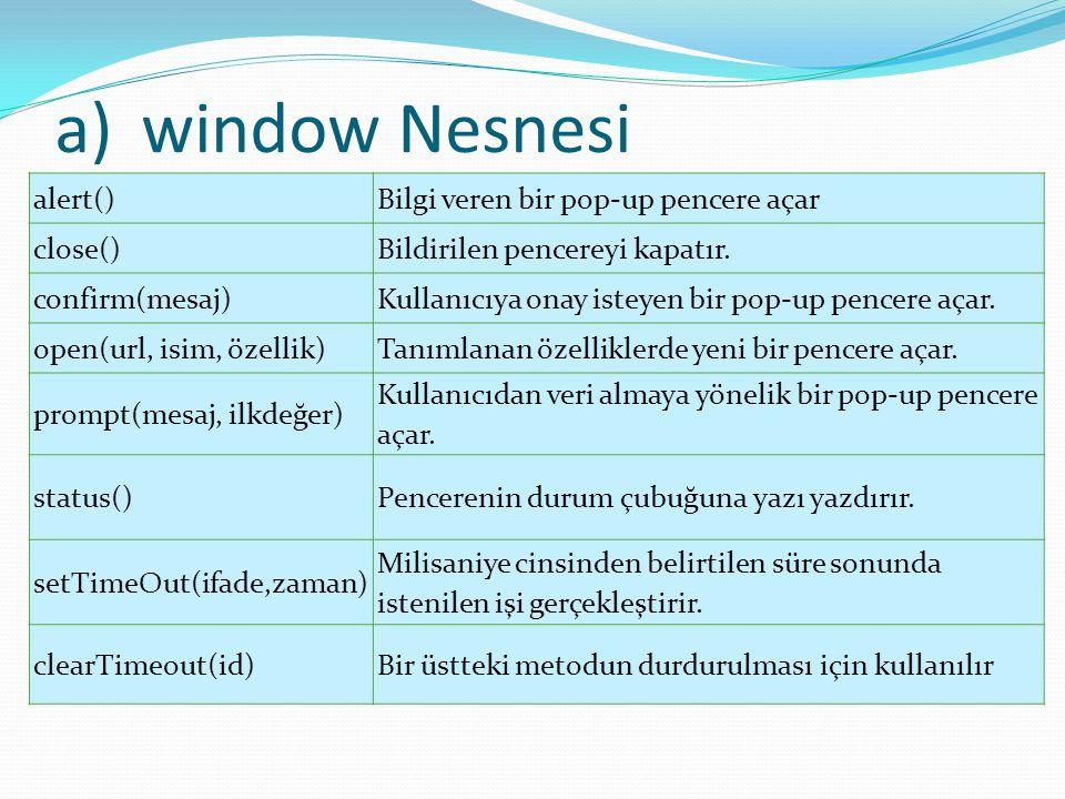 a)window Nesnesi alert()Bilgi veren bir pop-up pencere açar close()Bildirilen pencereyi kapatır. confirm(mesaj)Kullanıcıya onay isteyen bir pop-up pen