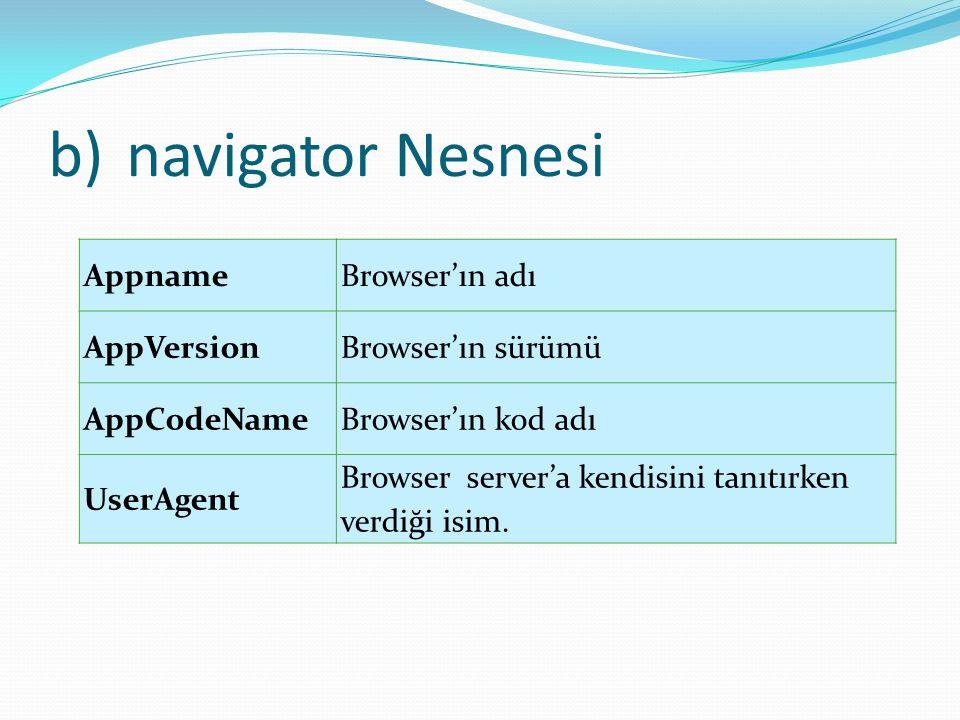 b)navigator Nesnesi AppnameBrowser'ın adı AppVersionBrowser'ın sürümü AppCodeNameBrowser'ın kod adı UserAgent Browser server'a kendisini tanıtırken ve