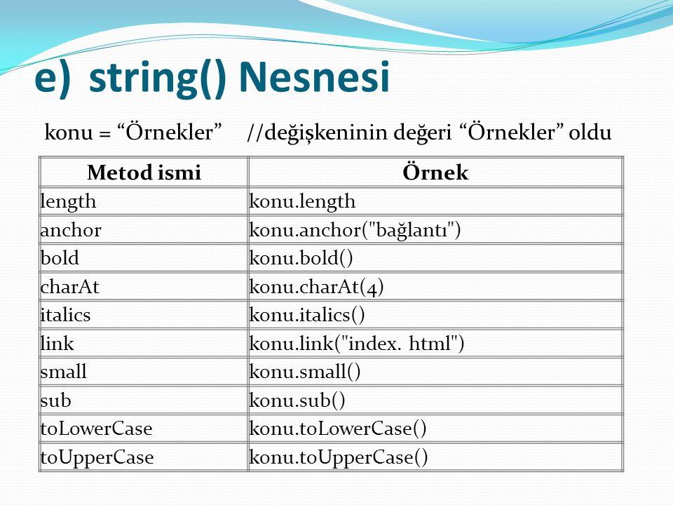 """e)string() Nesnesi konu = """"Örnekler"""" //değişkeninin değeri """"Örnekler"""" oldu Metod ismiÖrnek lengthkonu.length anchorkonu.anchor("""