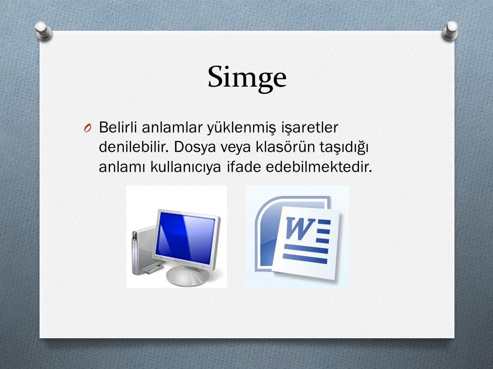 Simge O Belirli anlamlar yüklenmiş işaretler denilebilir. Dosya veya klasörün taşıdığı anlamı kullanıcıya ifade edebilmektedir.