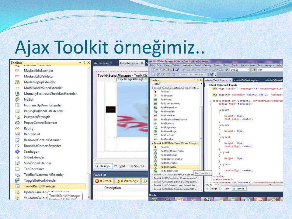 Ajax Toolkit örneğimiz..