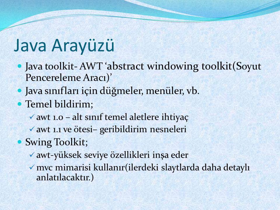 Java Arayüzü  Java toolkit- AWT ' abstract windowing toolkit(S oyut Pencereleme Aracı)'  Java sınıfları için düğmeler, menüler, vb.