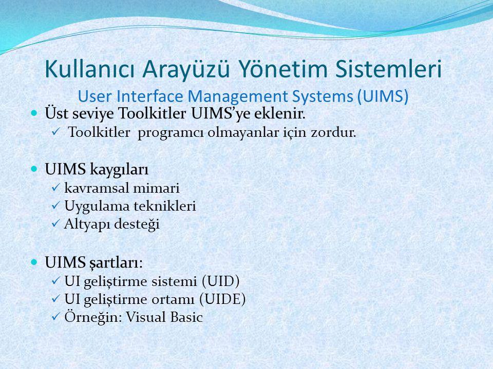 Kullanıcı Arayüzü Yönetim Sistemleri User Interface Management Systems (UIMS)  Üst seviye Toolkitler UIMS'ye eklenir.