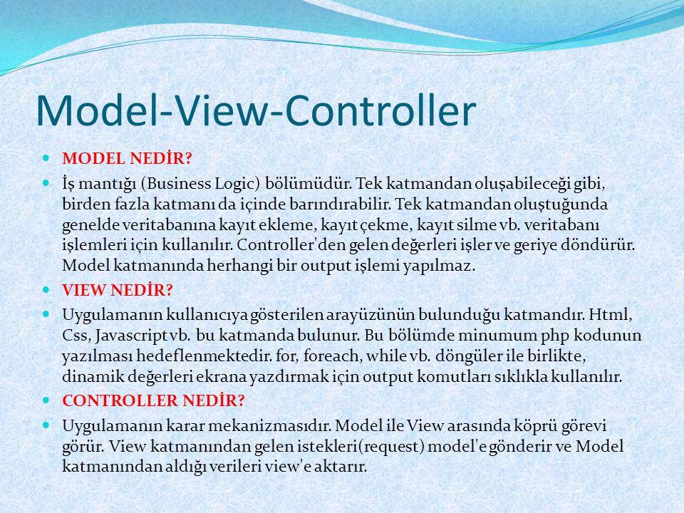 Model-View-Controller  MODEL NEDİR?  İş mantığı (Business Logic) bölümüdür. Tek katmandan oluşabileceği gibi, birden fazla katmanı da içinde barındı