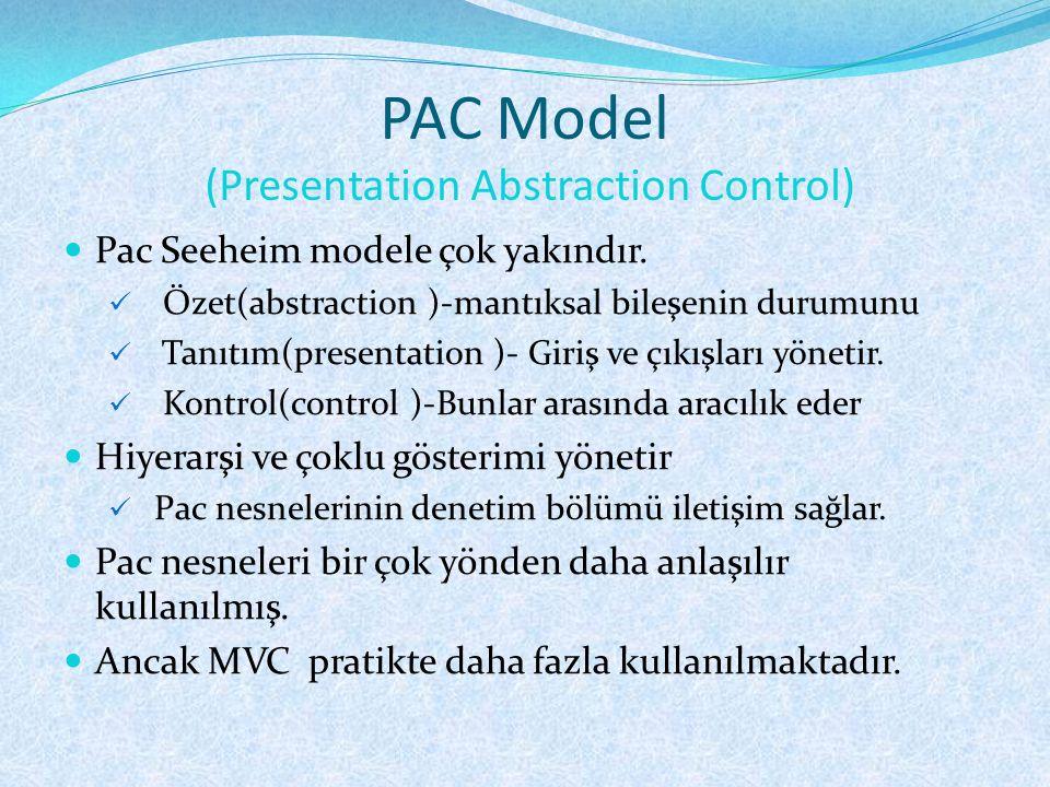 PAC Model (Presentation Abstraction Control)  Pac Seeheim modele çok yakındır.