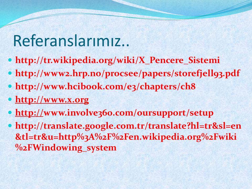 Referanslarımız..  http://tr.wikipedia.org/wiki/X_Pencere_Sistemi  http://www2.hrp.no/procsee/papers/storefjell93.pdf  http://www.hcibook.com/e3/ch