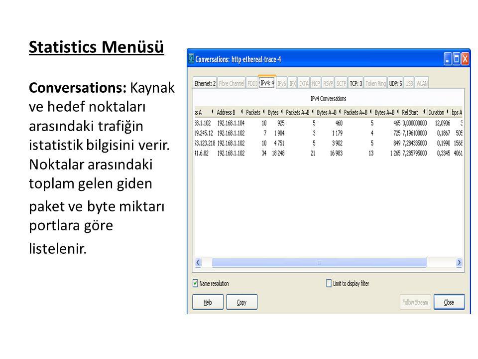 Statistics Menüsü Conversations: Kaynak ve hedef noktaları arasındaki trafiğin istatistik bilgisini verir.