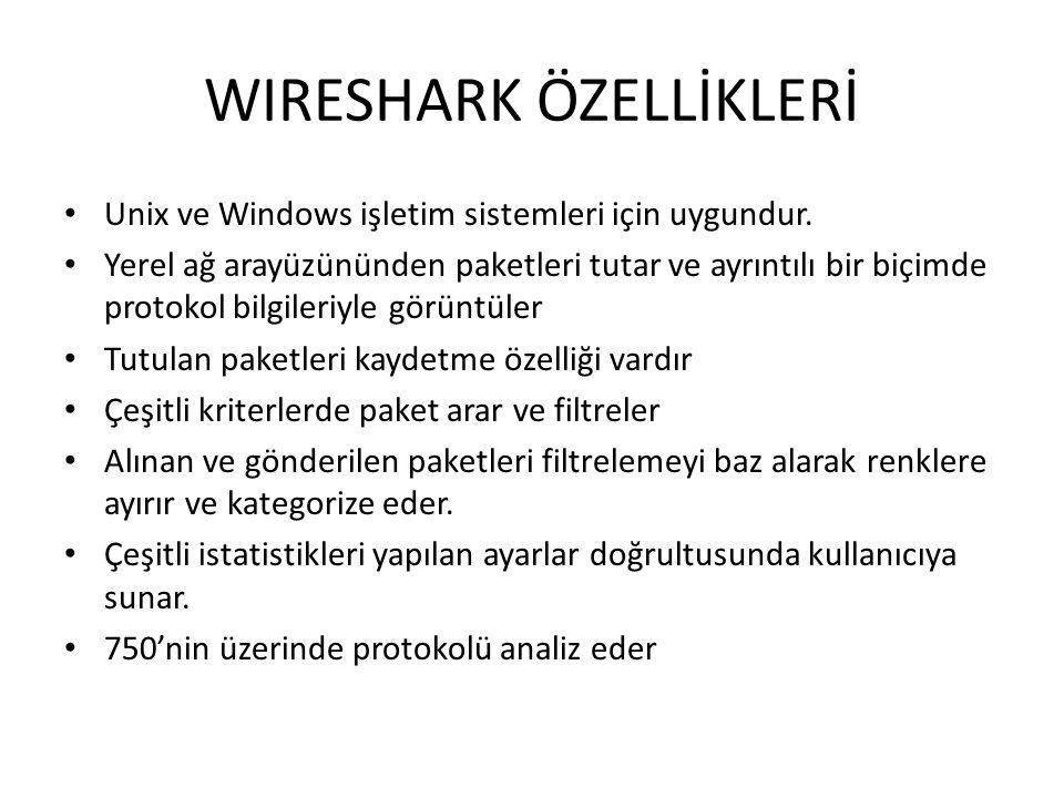 WIRESHARK ÖZELLİKLERİ • Unix ve Windows işletim sistemleri için uygundur.