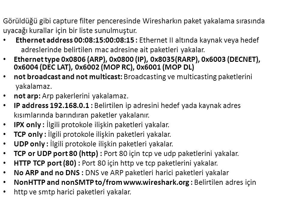 Görüldüğü gibi capture filter penceresinde Wiresharkın paket yakalama sırasında uyacağı kurallar için bir liste sunulmuştur.