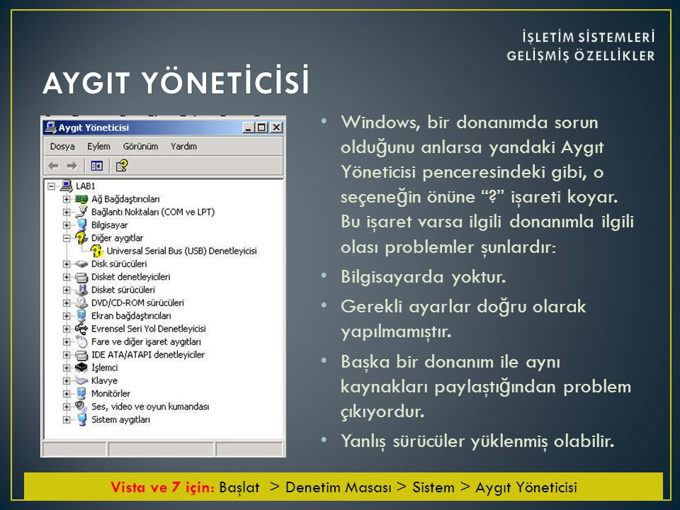 • Windows, bir donanımda sorun oldu ğ unu anlarsa yandaki Aygıt Yöneticisi penceresindeki gibi, o seçene ğ in önüne ? işareti koyar.