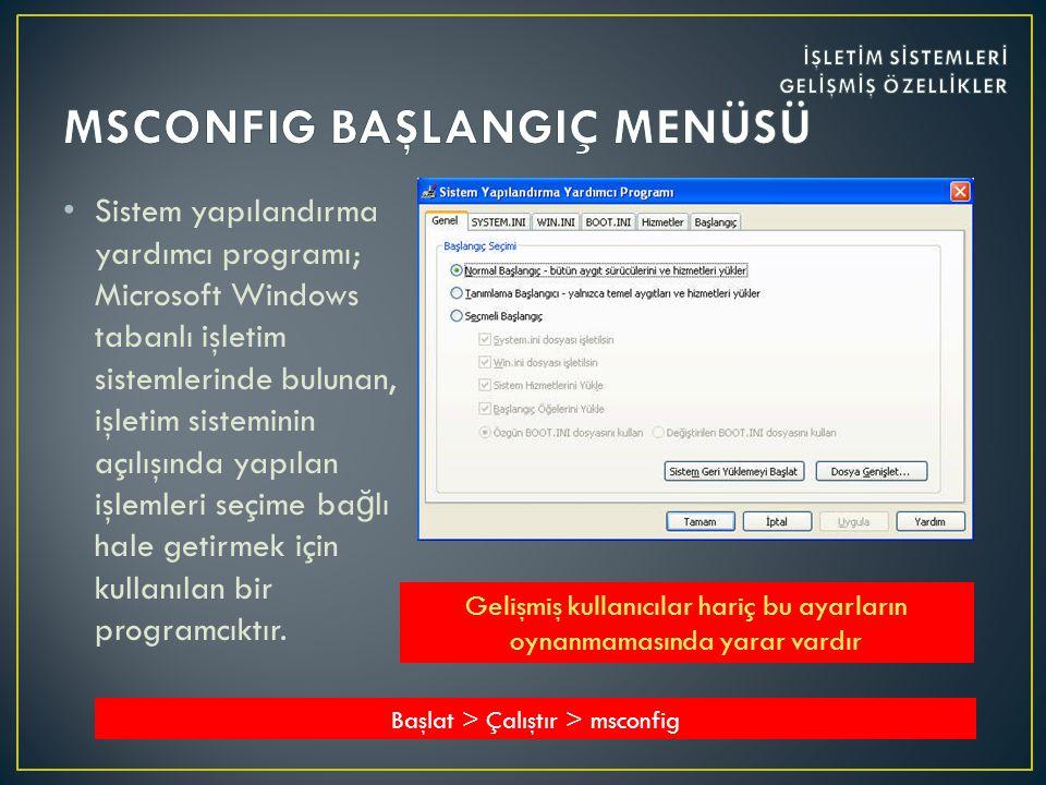 • Sistem yapılandırma yardımcı programı; Microsoft Windows tabanlı işletim sistemlerinde bulunan, işletim sisteminin açılışında yapılan işlemleri seçime ba ğ lı hale getirmek için kullanılan bir programcıktır.