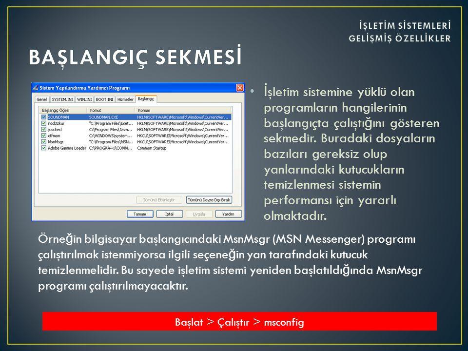•İ şletim sistemine yüklü olan programların hangilerinin başlangıçta çalıştı ğ ını gösteren sekmedir.