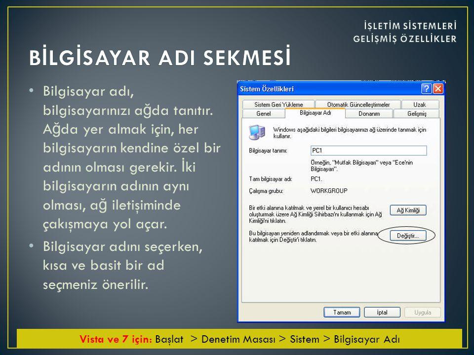 • Geçici internet dosyaları klasörü bölümünde ziyaret edilen sayfalara ait dosyaların bulundu ğ u klasör ve bunun için diskte ayrılan bölge yer alır.