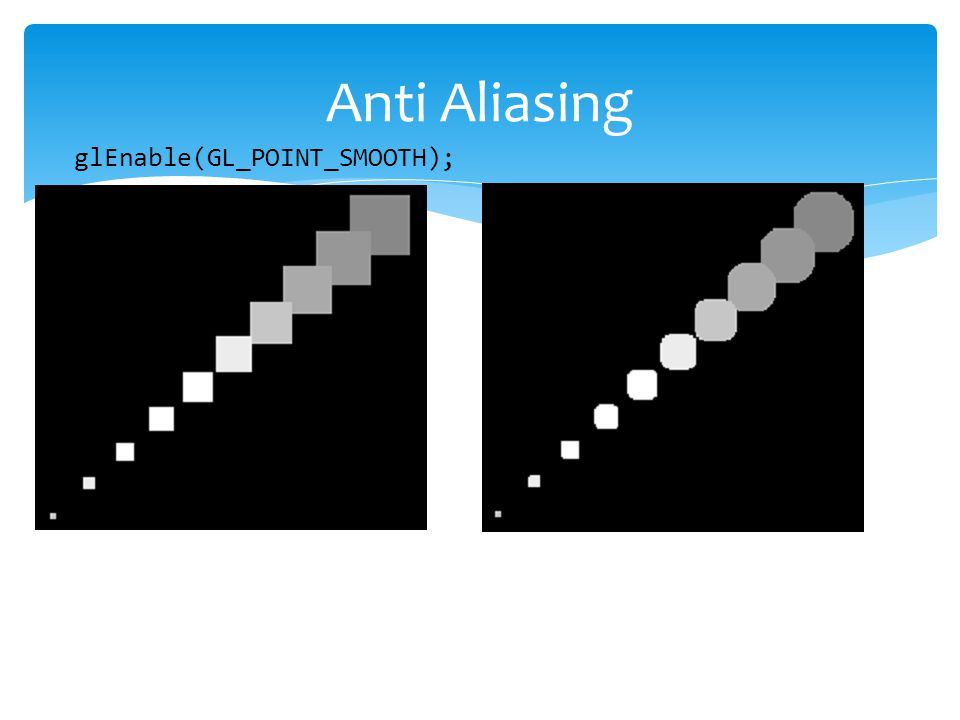 Anti Aliasing glEnable(GL_POINT_SMOOTH);