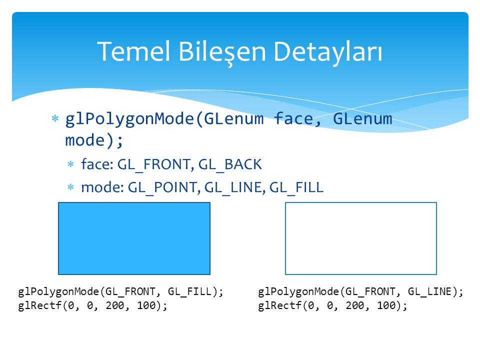 glPolygonMode(GLenum face, GLenum mode);  face: GL_FRONT, GL_BACK  mode: GL_POINT, GL_LINE, GL_FILL Temel Bileşen Detayları glPolygonMode(GL_FRONT,