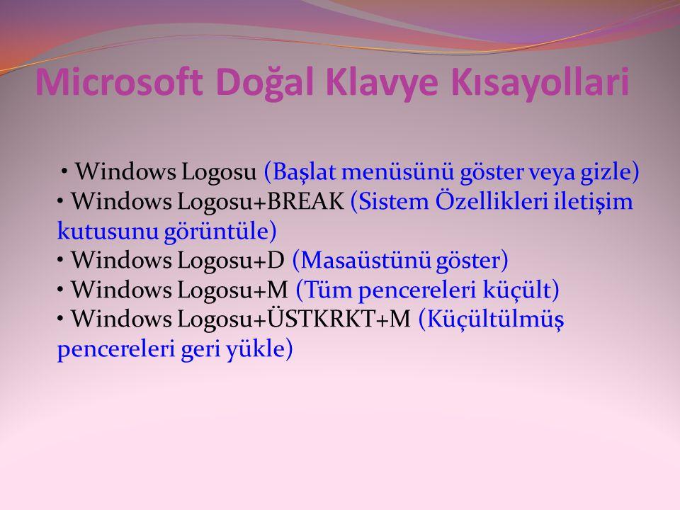 Microsoft Doğal Klavye Kısayollari • Windows Logosu (Başlat menüsünü göster veya gizle) • Windows Logosu+BREAK (Sistem Özellikleri iletişim kutusunu g