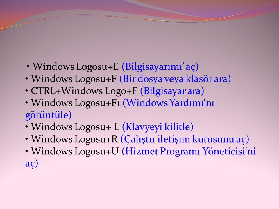 • Windows Logosu+E (Bilgisayarımı' aç) • Windows Logosu+F (Bir dosya veya klasör ara) • CTRL+Windows Logo+F (Bilgisayar ara) • Windows Logosu+F1 (Wind