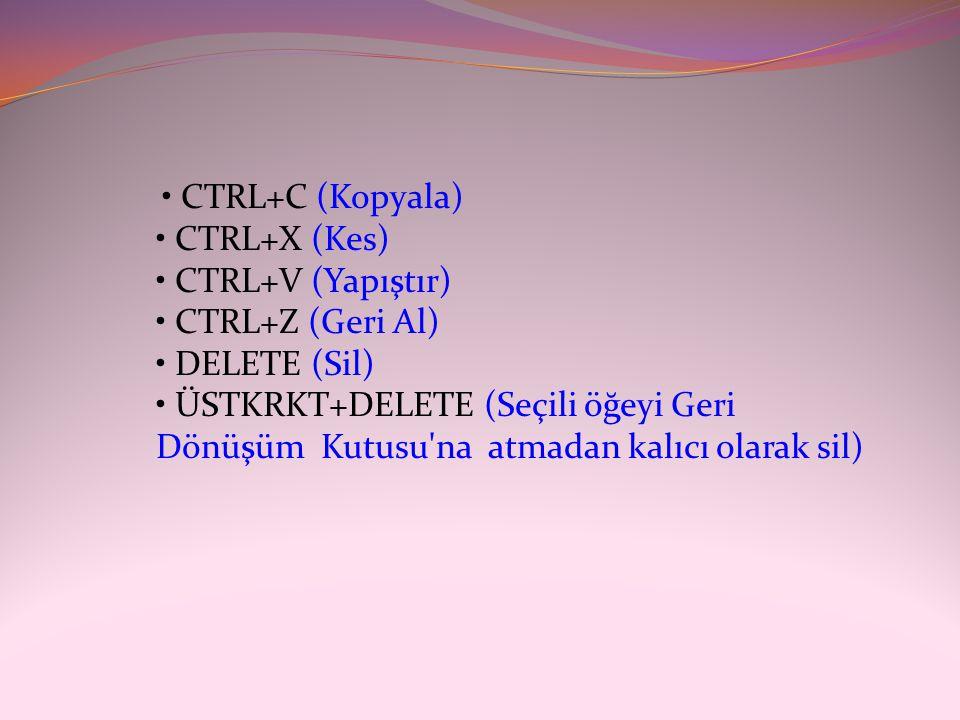 • CTRL+C (Kopyala) • CTRL+X (Kes) • CTRL+V (Yapıştır) • CTRL+Z (Geri Al) • DELETE (Sil) • ÜSTKRKT+DELETE (Seçili öğeyi Geri Dönüşüm Kutusu'na atmadan