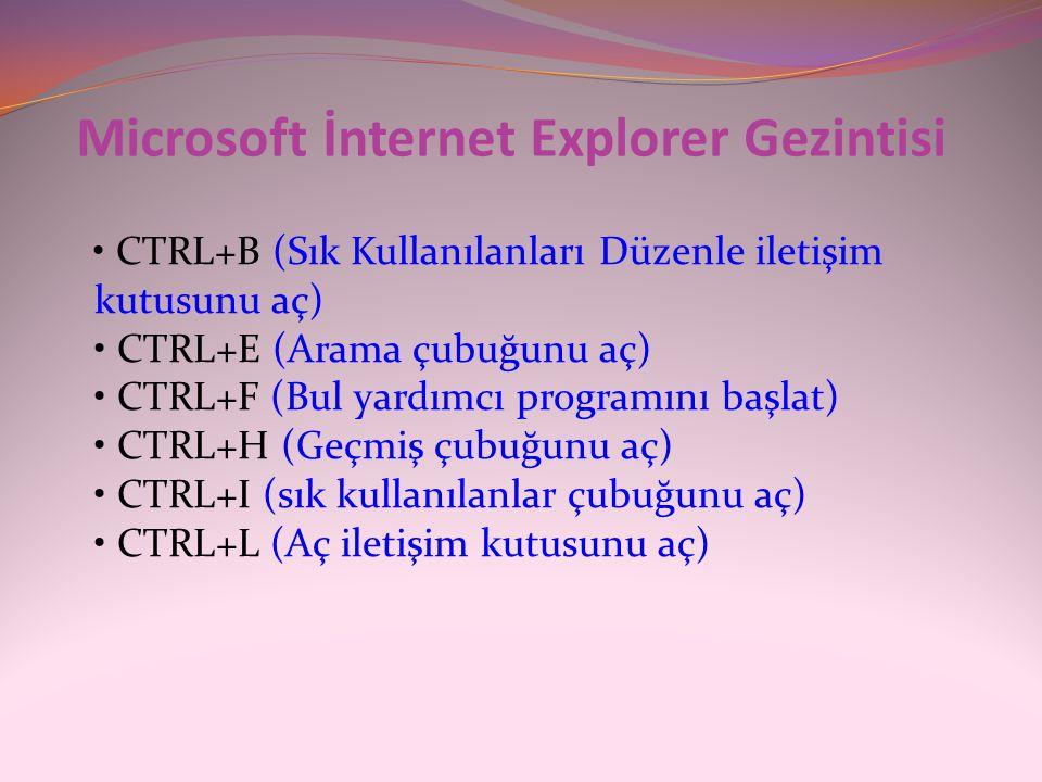 Microsoft İnternet Explorer Gezintisi • CTRL+B (Sık Kullanılanları Düzenle iletişim kutusunu aç) • CTRL+E (Arama çubuğunu aç) • CTRL+F (Bul yardımcı p