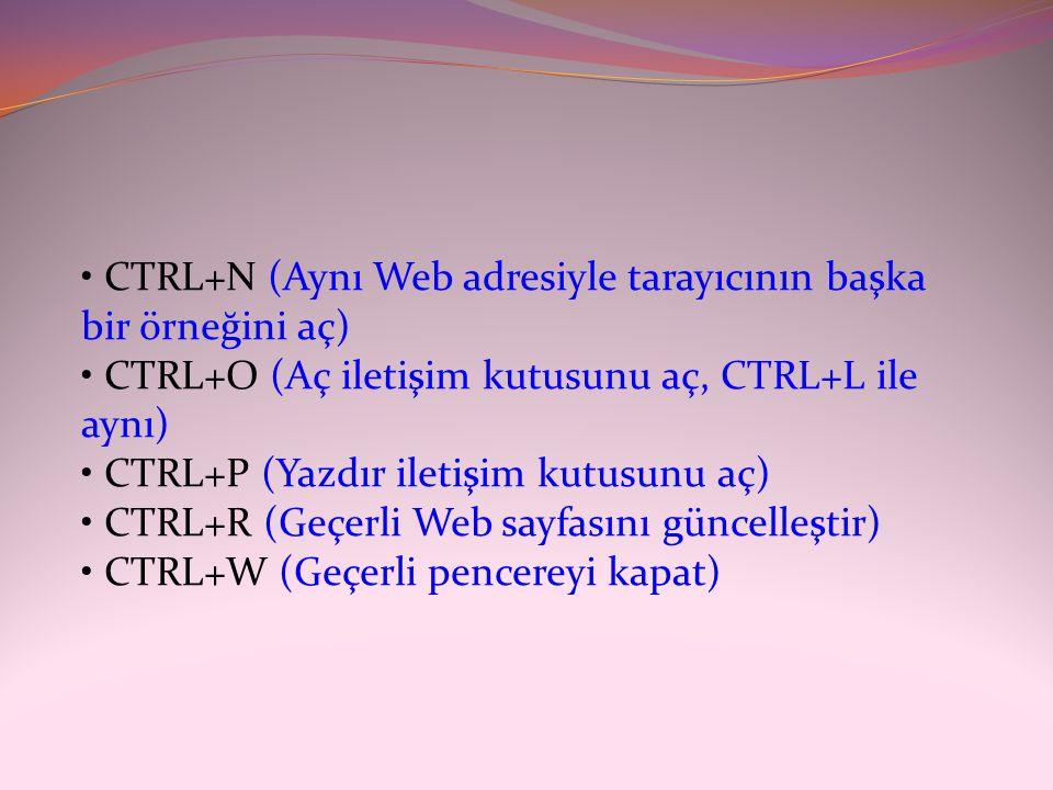 • CTRL+N (Aynı Web adresiyle tarayıcının başka bir örneğini aç) • CTRL+O (Aç iletişim kutusunu aç, CTRL+L ile aynı) • CTRL+P (Yazdır iletişim kutusunu