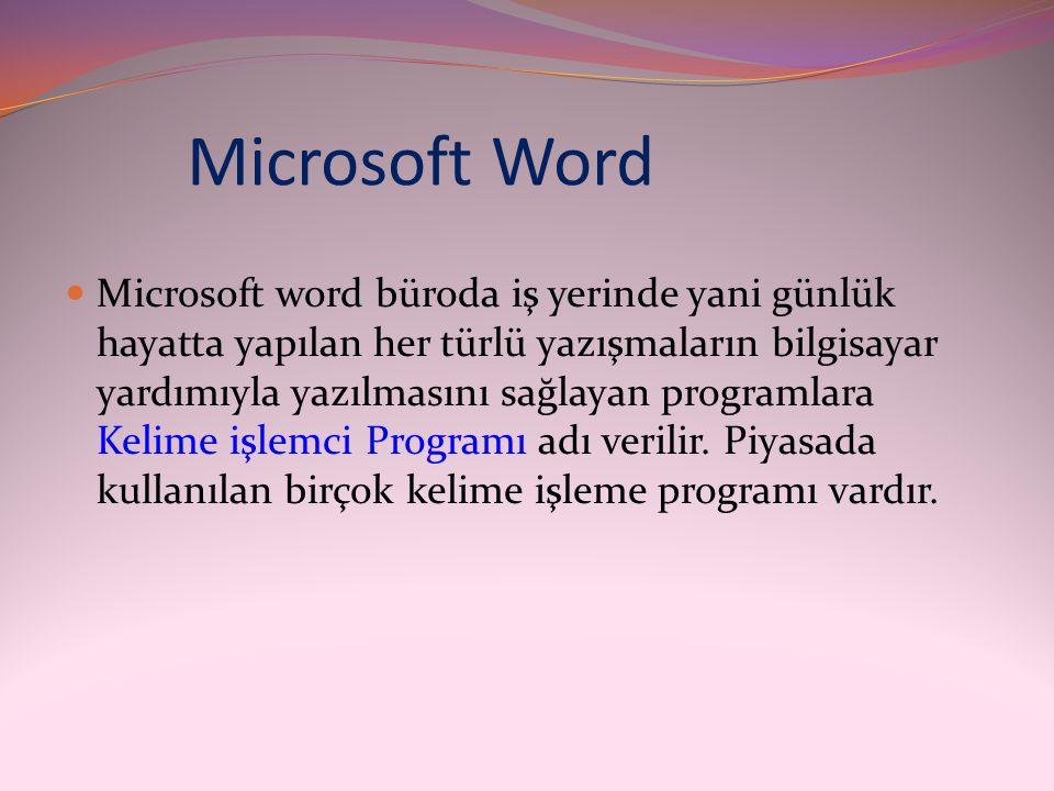 Microsoft Word  Microsoft word büroda iş yerinde yani günlük hayatta yapılan her türlü yazışmaların bilgisayar yardımıyla yazılmasını sağlayan progra