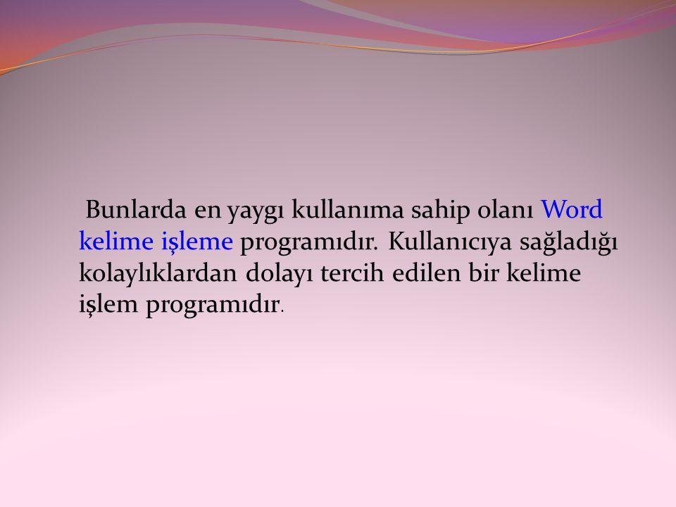 Bunlarda en yaygı kullanıma sahip olanı Word kelime işleme programıdır. Kullanıcıya sağladığı kolaylıklardan dolayı tercih edilen bir kelime işlem pro