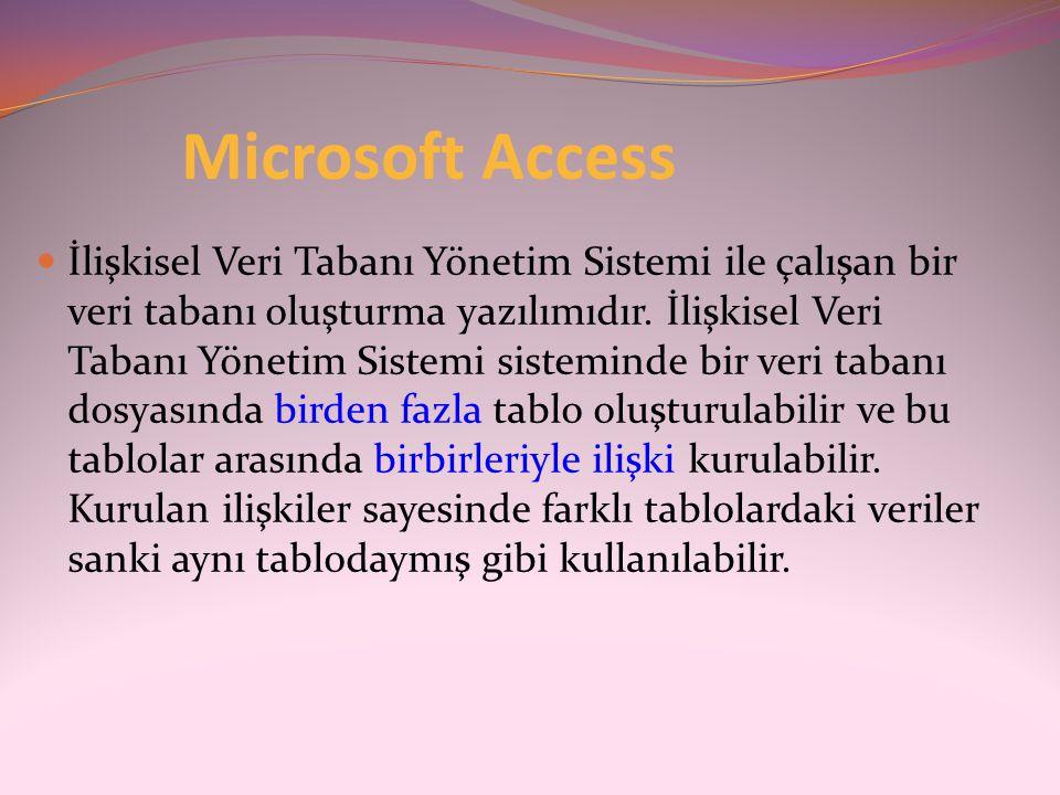 Microsoft Access  İlişkisel Veri Tabanı Yönetim Sistemi ile çalışan bir veri tabanı oluşturma yazılımıdır. İlişkisel Veri Tabanı Yönetim Sistemi sist