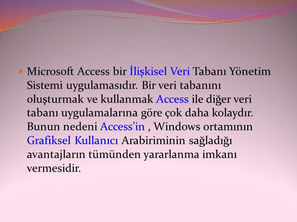  Microsoft Access bir İlişkisel Veri Tabanı Yönetim Sistemi uygulamasıdır. Bir veri tabanını oluşturmak ve kullanmak Access ile diğer veri tabanı uyg