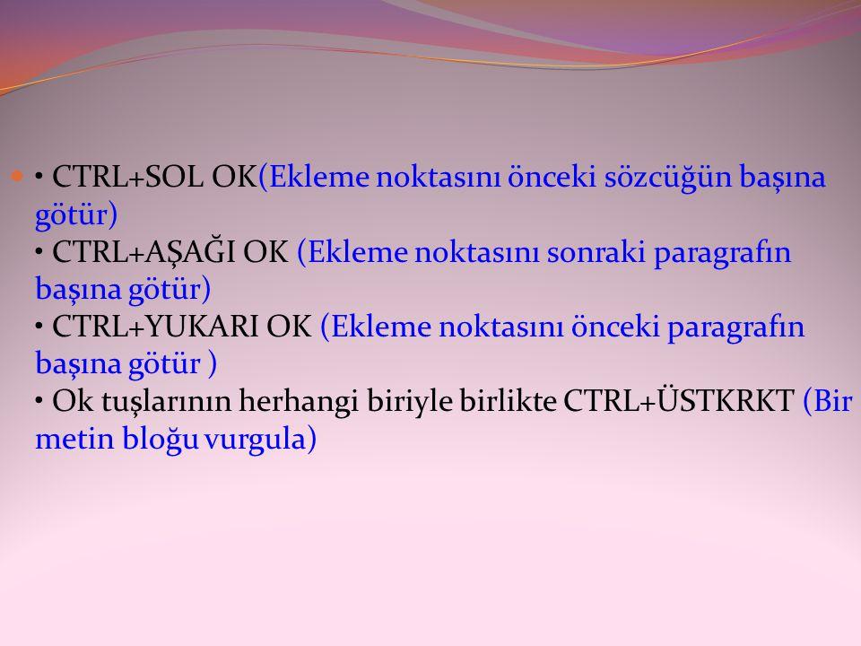  • CTRL+SOL OK(Ekleme noktasını önceki sözcüğün başına götür) • CTRL+AŞAĞI OK (Ekleme noktasını sonraki paragrafın başına götür) • CTRL+YUKARI OK (Ek