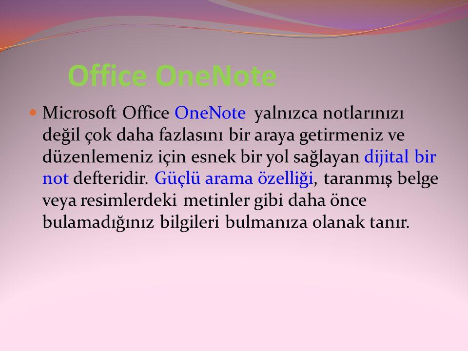 Office OneNote  Microsoft Office OneNote yalnızca notlarınızı değil çok daha fazlasını bir araya getirmeniz ve düzenlemeniz için esnek bir yol sağlay
