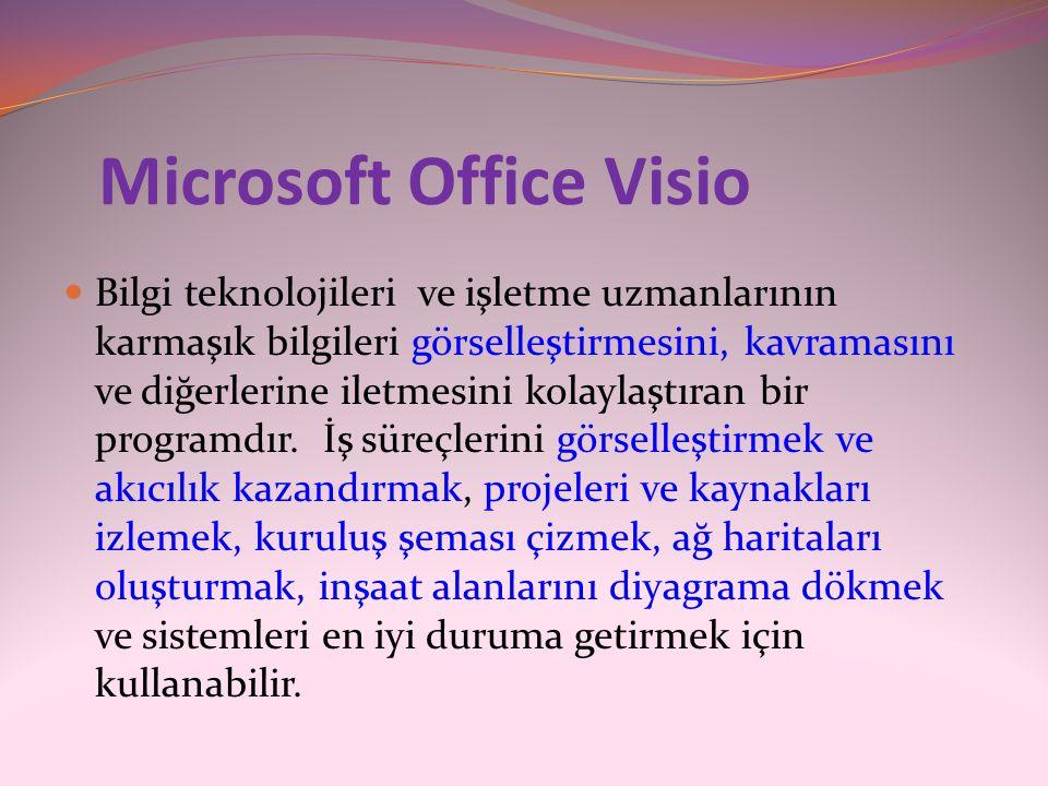 Microsoft Office Visio  Bilgi teknolojileri ve işletme uzmanlarının karmaşık bilgileri görselleştirmesini, kavramasını ve diğerlerine iletmesini kola