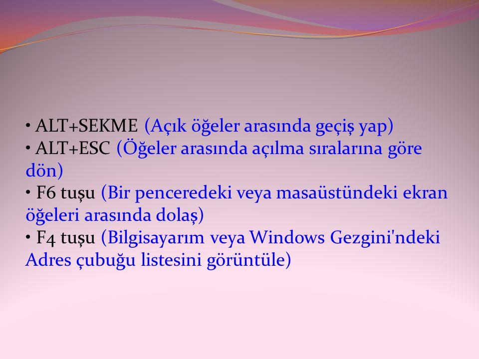 • ALT+SEKME (Açık öğeler arasında geçiş yap) • ALT+ESC (Öğeler arasında açılma sıralarına göre dön) • F6 tuşu (Bir penceredeki veya masaüstündeki ekra