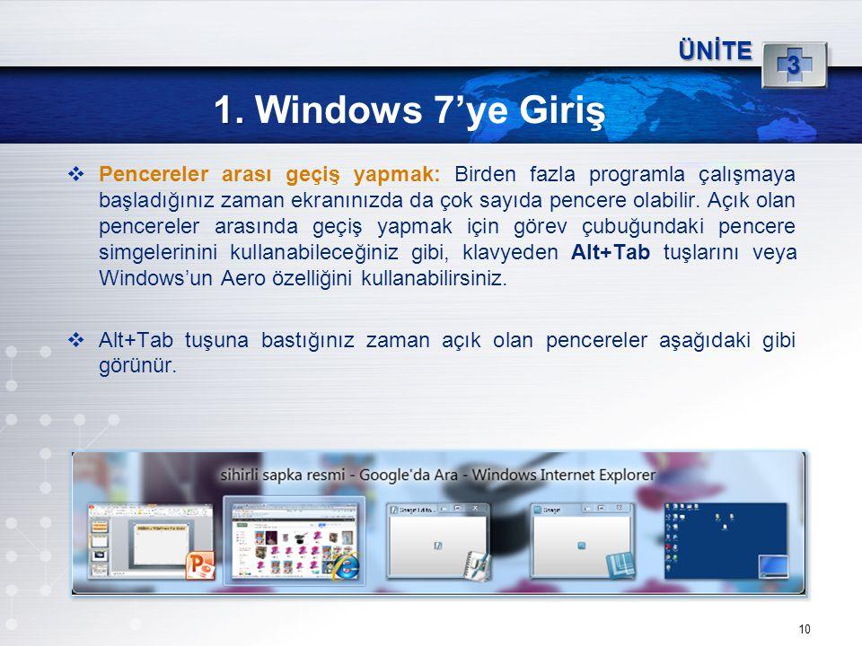 10 1. 1. Windows 7'ye Giriş ÜNİTE 3  Pencereler arası geçiş yapmak: Birden fazla programla çalışmaya başladığınız zaman ekranınızda da çok sayıda pen