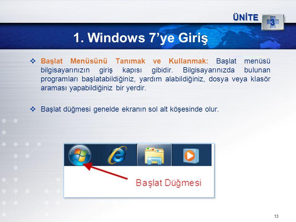 13 1. 1. Windows 7'ye Giriş ÜNİTE 3  Başlat Menüsünü Tanımak ve Kullanmak: Başlat menüsü bilgisayarınızın giriş kapısı gibidir. Bilgisayarınızda bulu