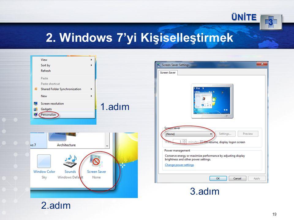 19 2. Windows 7'yi Kişiselleştirmek ÜNİTE 3 1.adım 3.adım 2.adım