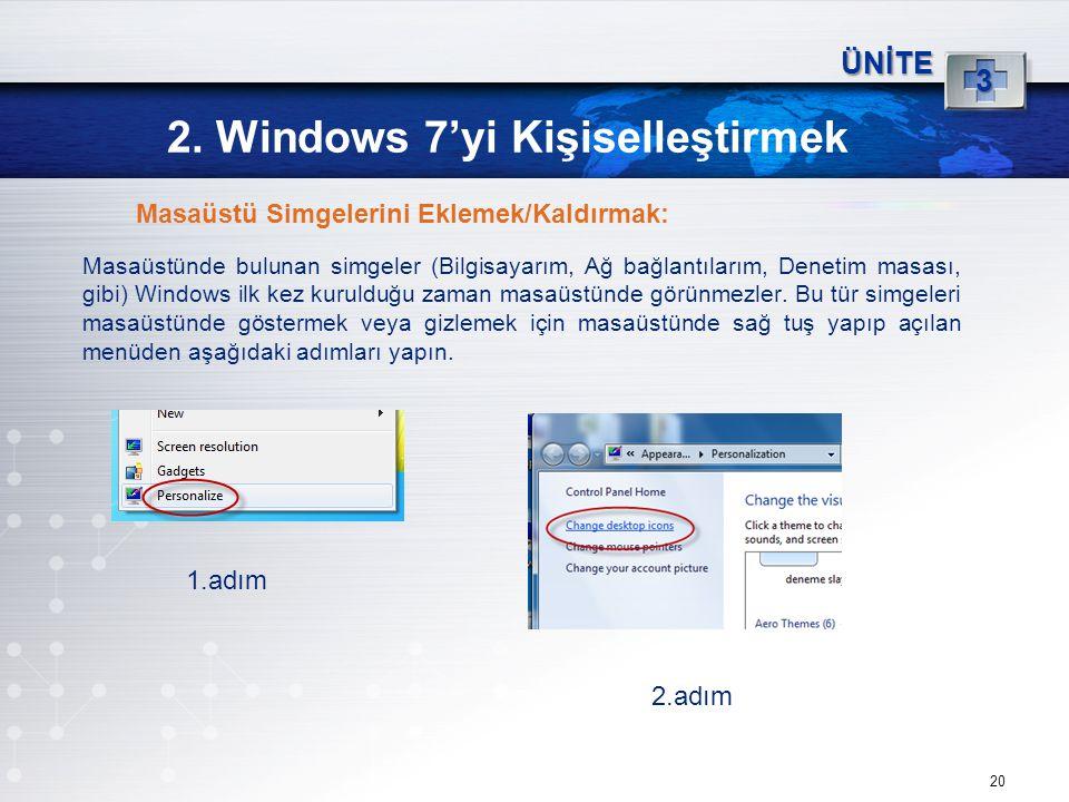20 2. Windows 7'yi Kişiselleştirmek ÜNİTE 3 Masaüstünde bulunan simgeler (Bilgisayarım, Ağ bağlantılarım, Denetim masası, gibi) Windows ilk kez kuruld
