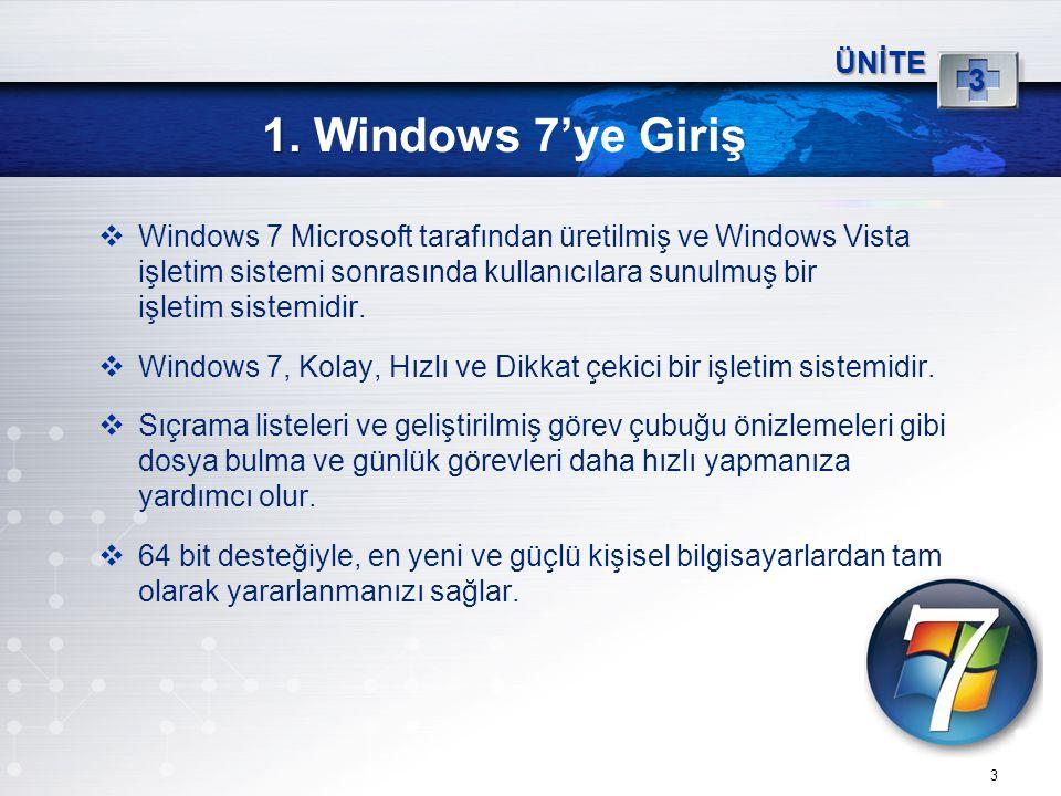 3 1. 1. Windows 7'ye Giriş ÜNİTE 3  Windows 7 Microsoft tarafından üretilmiş ve Windows Vista işletim sistemi sonrasında kullanıcılara sunulmuş bir i