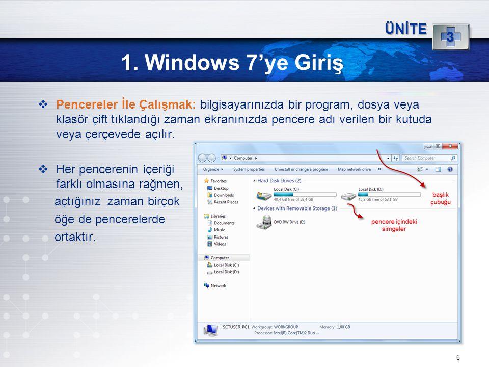 6 1. 1. Windows 7'ye Giriş ÜNİTE 3  Pencereler İle Çalışmak: bilgisayarınızda bir program, dosya veya klasör çift tıklandığı zaman ekranınızda pencer
