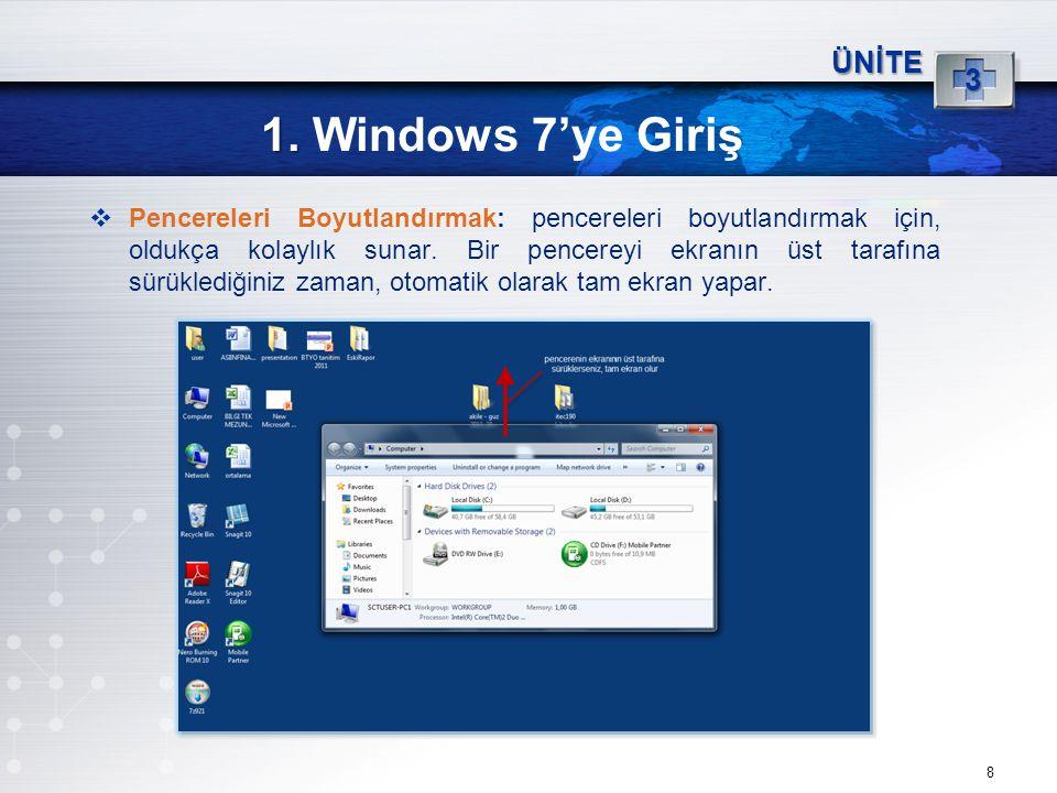 8 1. 1. Windows 7'ye Giriş ÜNİTE 3  Pencereleri Boyutlandırmak: pencereleri boyutlandırmak için, oldukça kolaylık sunar. Bir pencereyi ekranın üst ta