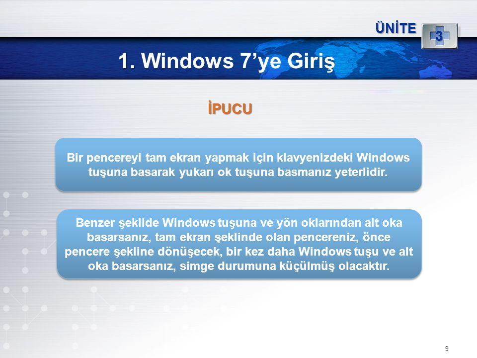 9 1. 1. Windows 7'ye Giriş ÜNİTE 3 Bir pencereyi tam ekran yapmak için klavyenizdeki Windows tuşuna basarak yukarı ok tuşuna basmanız yeterlidir. Benz