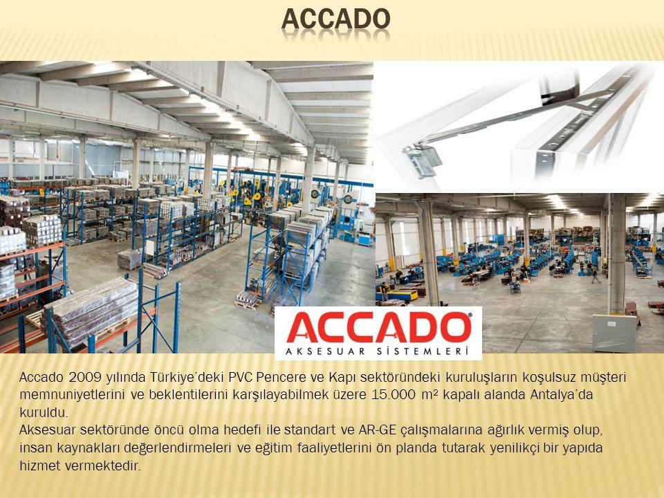 Accado 2009 yılında Türkiye'deki PVC Pencere ve Kapı sektöründeki kuruluşların koşulsuz müşteri memnuniyetlerini ve beklentilerini karşılayabilmek üzere 15.000 m² kapalı alanda Antalya'da kuruldu.